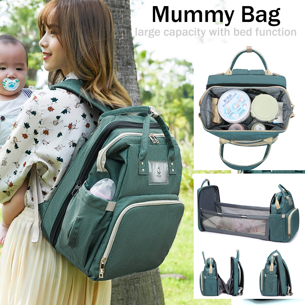 Updated Portable Mummy Bag Stroller Diaper Bags Baby Travel Bed Waterproof Moms Backpack Baby Nursing Bag+Sponge Mattress Gift