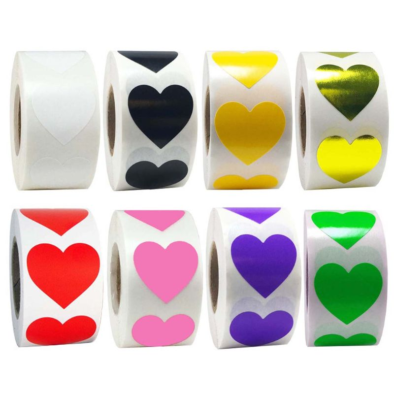 500pcs/roll Heart Shaped Love Seal Stickers Scrapbook Gift Packaging Birthday Party Supplies Stationery