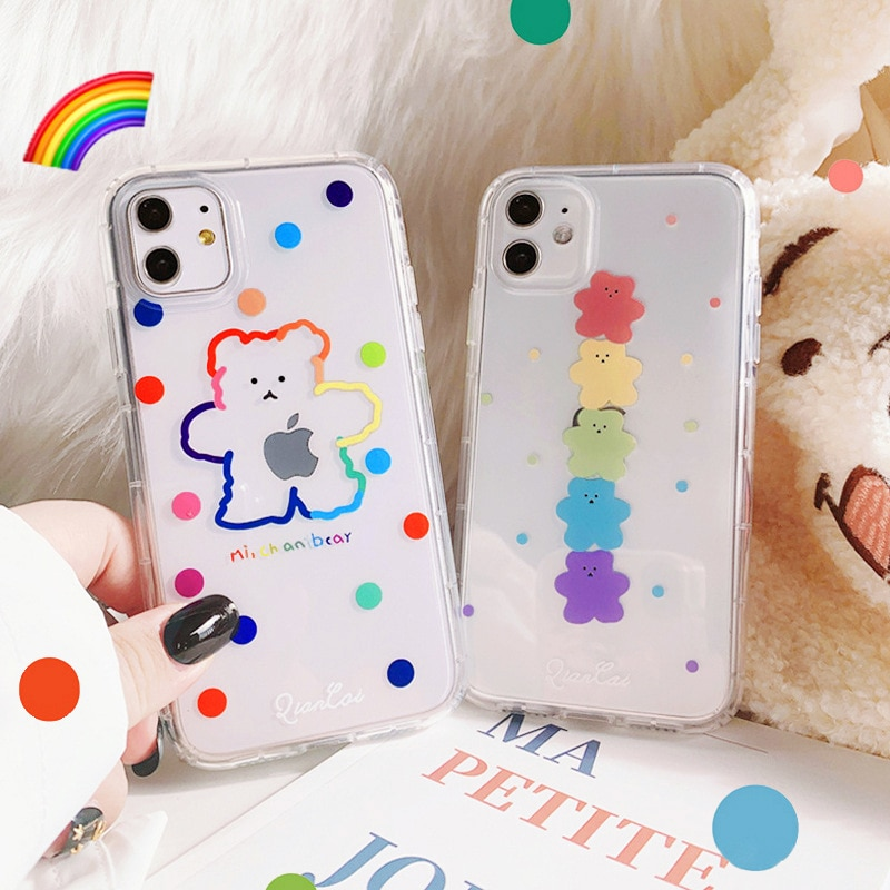 phone case Cartoon mobile phone shell for iphone11 XR  XS  7/8/SE 2020 11pro Xs 7p/8plus X/Xs ins cute bear
