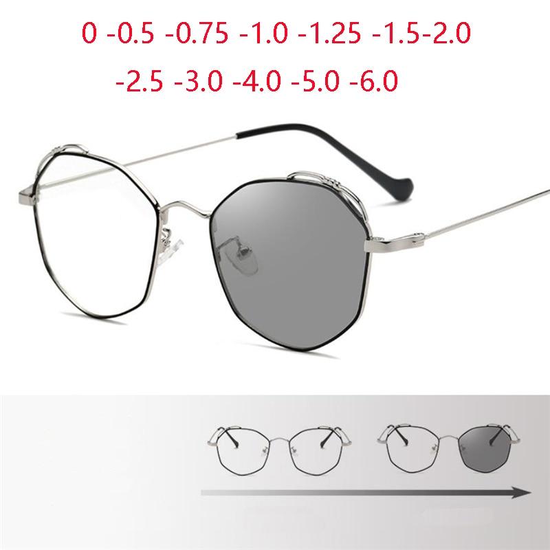 Polígono camaleão prescrição óculos feminino metal preto prata sol fotocromático miopes lunetas feminino 0 -0.5 -0.75 a-6.0