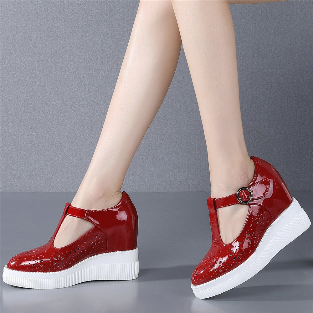 2021 Casual Shoes Women Genuine Leather High Heel Ankle Boots Female Wedges Platform Pumps Shoes Summer Pointed Toe Mary Janes  - buy with discount
