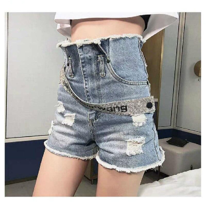AAW019 pantalones cortos vaqueros de cintura alta con cinturón de diamantes de imitación con logotipo de letra A2