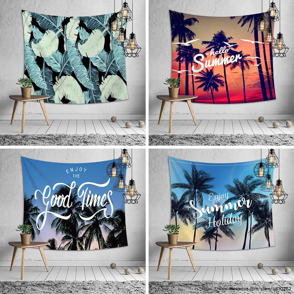 Verano Tropical playa pared tapices Palma árbol poliéster impreso tapiz colgante de pared paisaje playa toalla decoración del hogar
