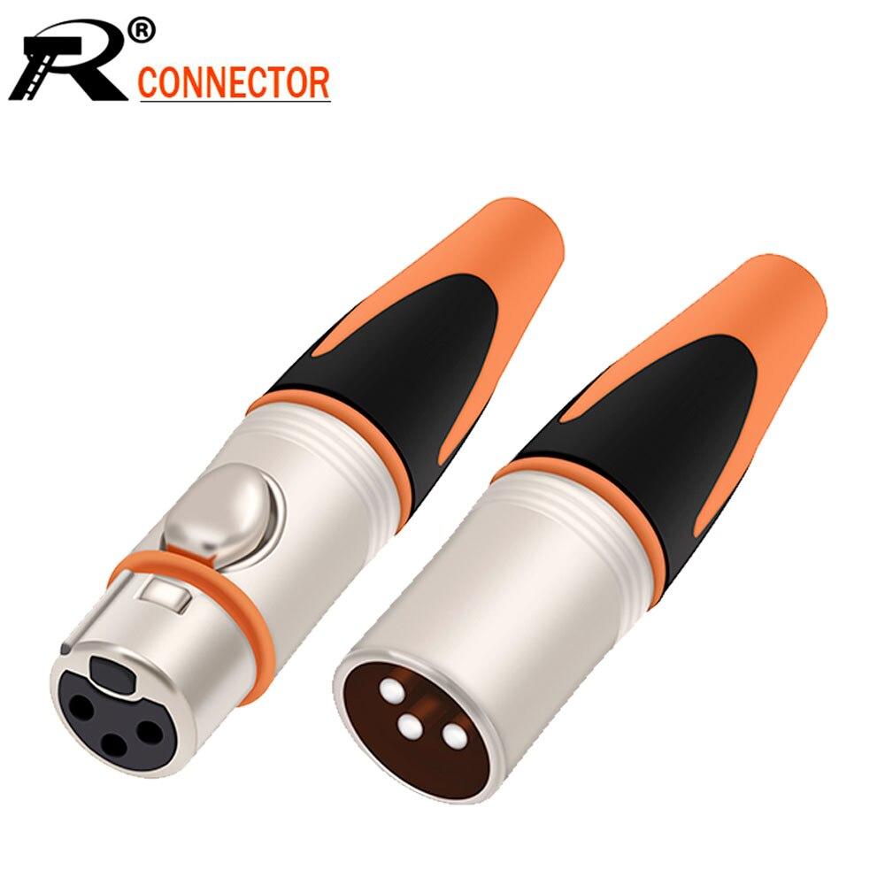 10 قطعة/الوحدة XLR التوصيل مقاوم للماء 3Pin معدن XLR محول أنثى/ذكر ميكروفون موصل التوصيل مستقيم متوازن المقبس