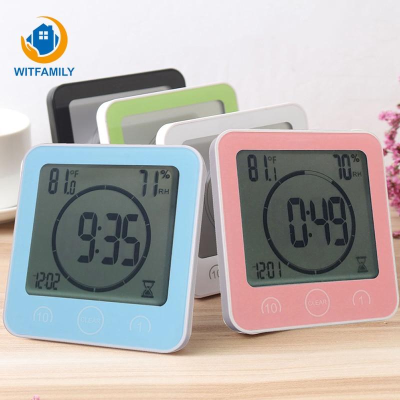 Ventosa impermeable ducha Lcd Digital relojes de baño relojes temporizador moderno temperatura Reloj de pared accesorios de decoración del hogar