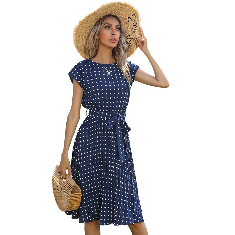 white lace details round neck short sleeves mini dress with lined Summer New Women's Mid Long Casual Beach Dress Wave Dot Round Neck Short Sleeve Lace Up Cool Dress Round Neck Sexy Dress