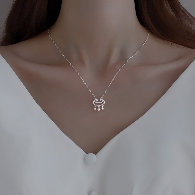 925 Sterling Silver Safety Lock Necklace Women's 2020 New Ruyi Long Life 2021 Clavicle Pendant Niche
