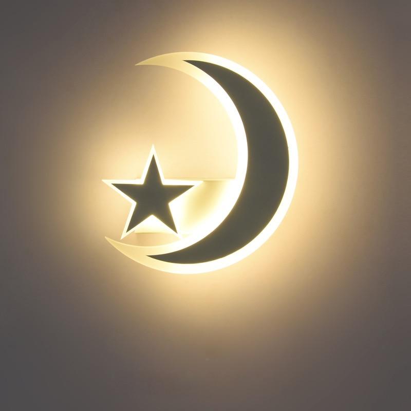 LED ستار القمر الجدار مصباح للأطفال الاطفال الطفل غرفة الكرتون الجدار أضواء لغرفة المعيشة غرفة نوم الممر الدرج الإضاءة