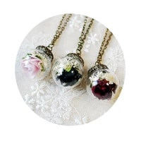 vintage bronze wish glass bottle pendant dried rose flower 3d real necklace long sweater chain necklaces for women girls