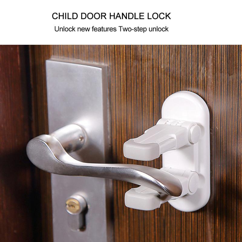 Selbst-Adhesive Tür Hebel Lock Baby Kind Proof Sicherheit Tür Griff Hebel Lock Nützliche Doppel Lock Design NEUE Dropshipping