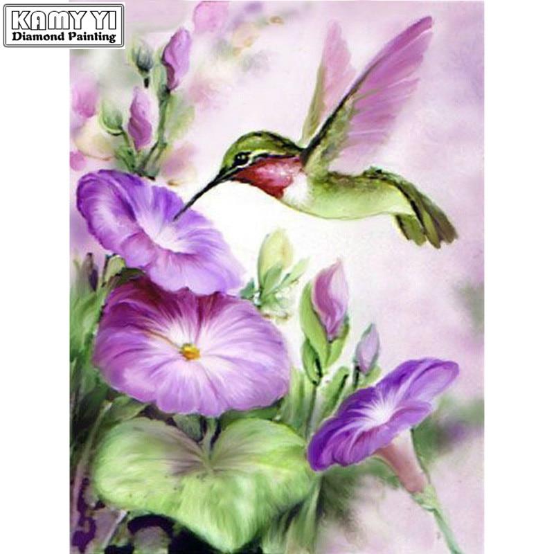 DIY 5D 3d  Diamond Painting Purple Flowers Handmade Diamond Embroidery Hummingbird Stickers 5d  Diamond Pictures Of Rhinestone