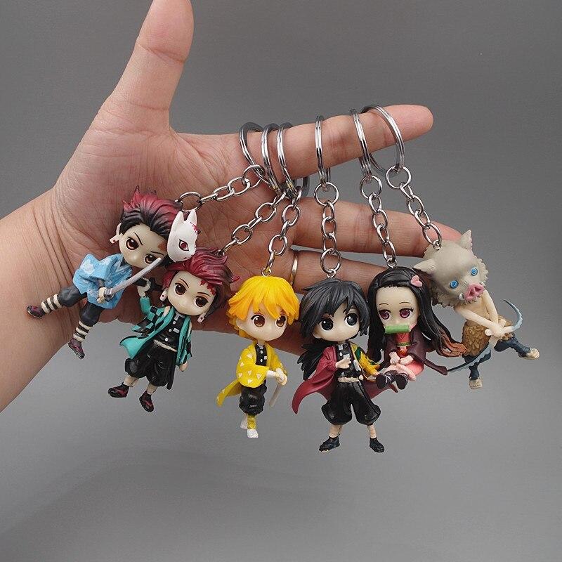LLavero de Slayer Anime Demon, llavero Kamado Tanjirou kamado-nezuko Agatsuma Zenitsu, llavero de muñeco, accesorios divertidos de bolso de dibujos animados