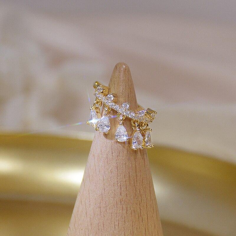 14k real ouro delicado gota coroa brincos para mulher transparente zircônia minúsculo charme clipe brinco casamento engagemet jóias