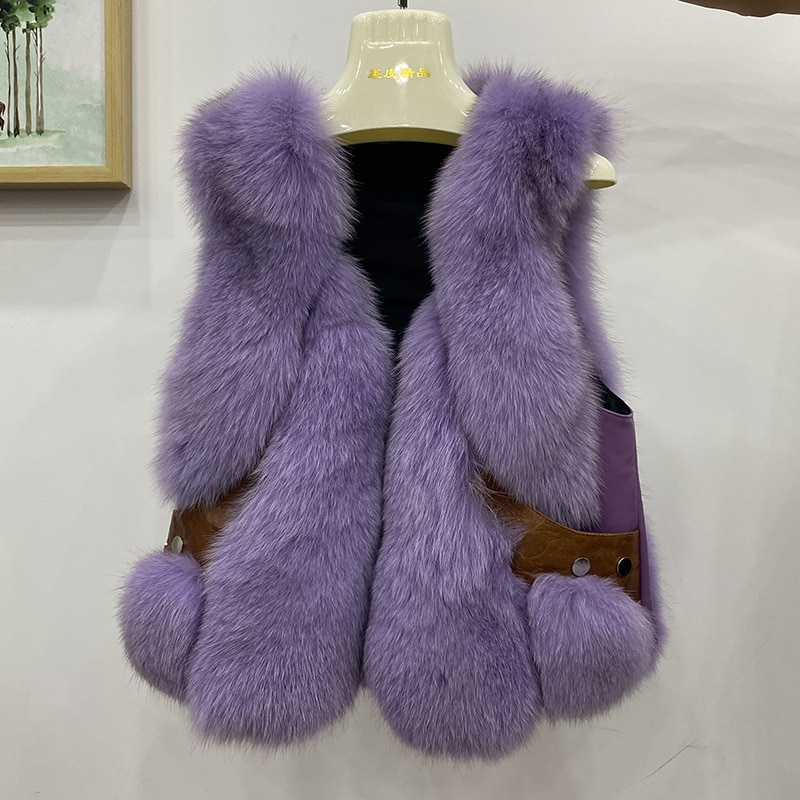 Natural Real Fox Fur Vest With Genuine Sheep Leather Luxury Women Winter Gilet Fashion Outwear