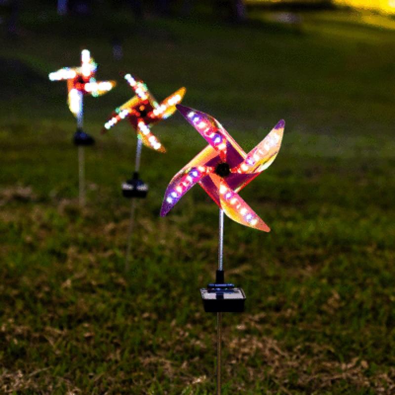 2PC LED windmill light garden road landscape 32LED solar ground outdoor decoration waterproof night