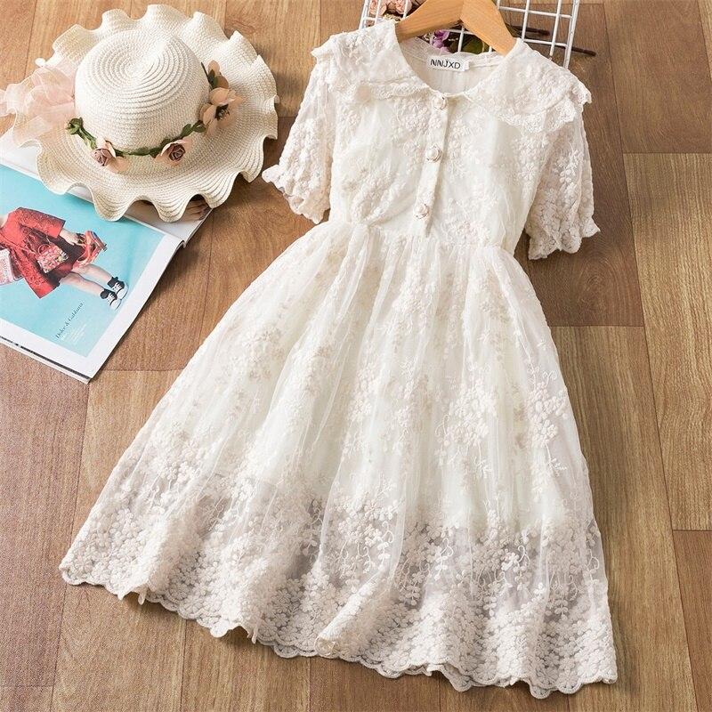 Primavera Verano de encaje de algodón vestidos infantiles para Niñas Ropa de Año Nuevo Beige fiesta niñas vestido media manga de la ropa de los niños