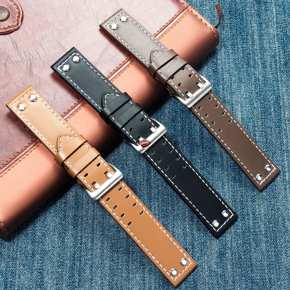 20mm22mm Double Row Hole Leather Straps for Hamilton Seiko Watch Band Rivet Mens Military Pilot Khak