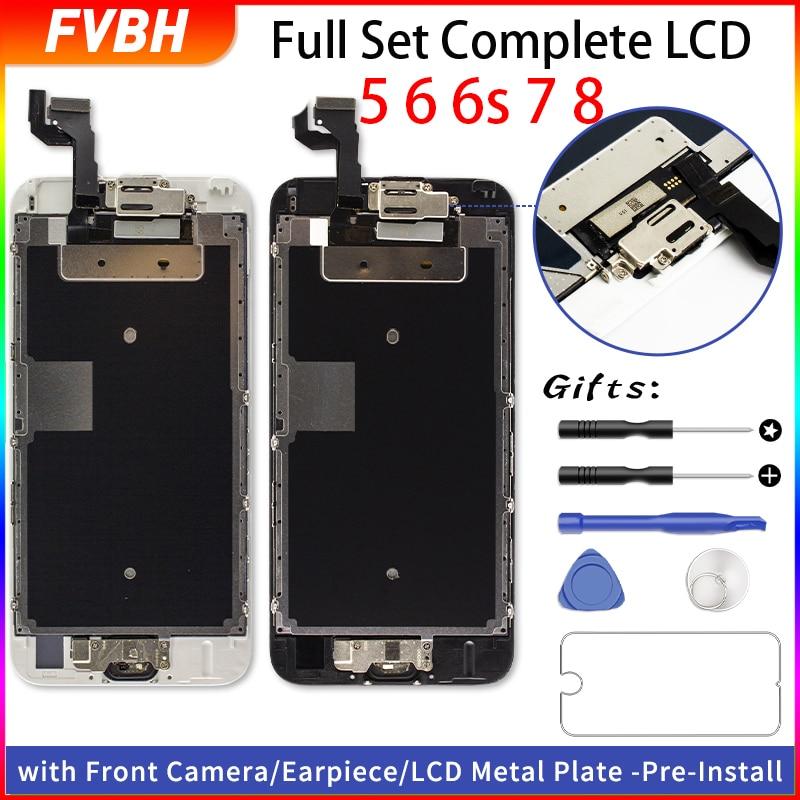 Juego completo LCD Ecran para iPhone 6 6 Plus 6s 6s Plus reemplazo de pantalla completa 3D pantalla táctil digitalizador + cámara frontal + auricular
