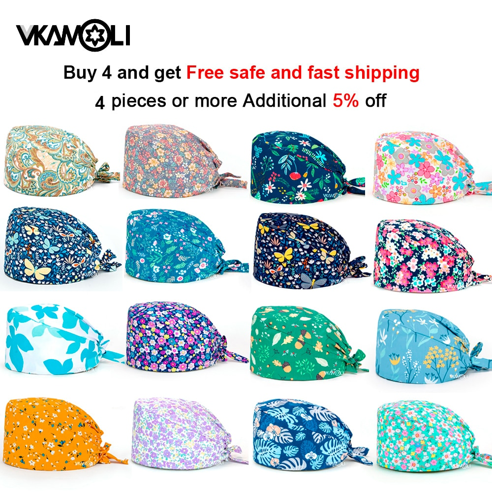 women's Cotton scrubs caps weat-absorbent Elastic Section pet grooming nursing work hats lab scrub hat