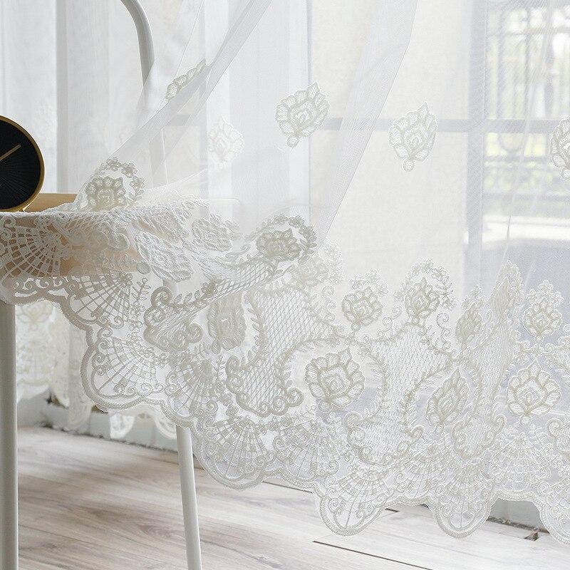 Europeu bordado branco tule cortina para o quarto pastoral rural estilo country elegante varanda janela cortinas zh043c