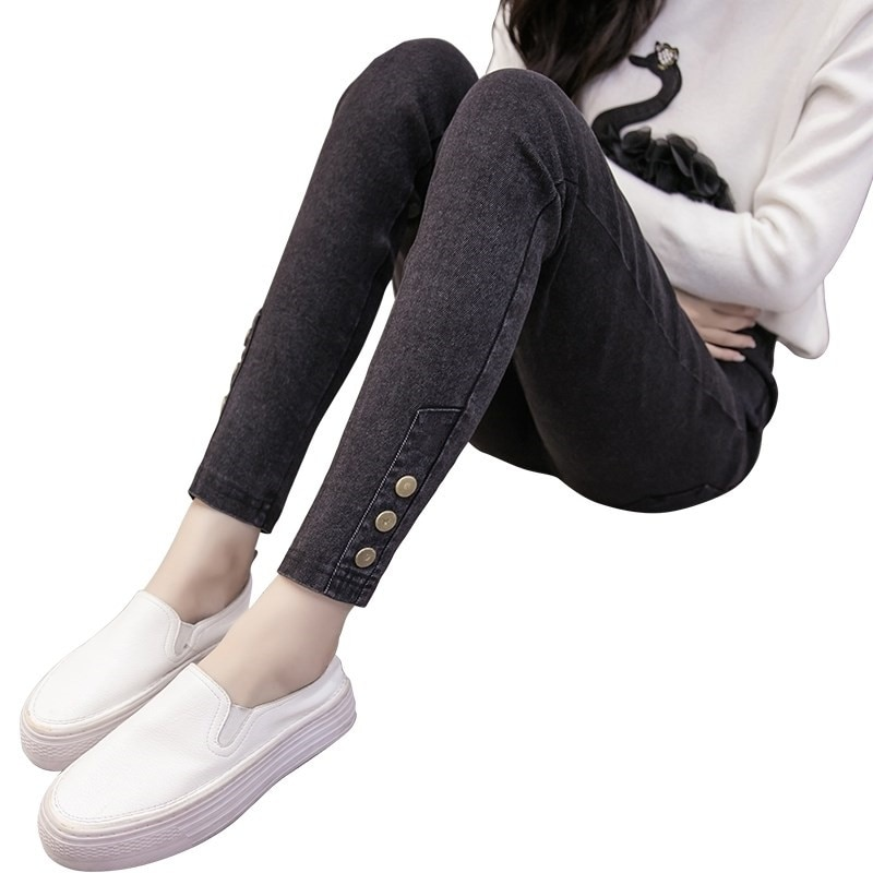 Женские узкие джинсы Donna, черные джинсы стрейч на пуговицах, узкие брюки