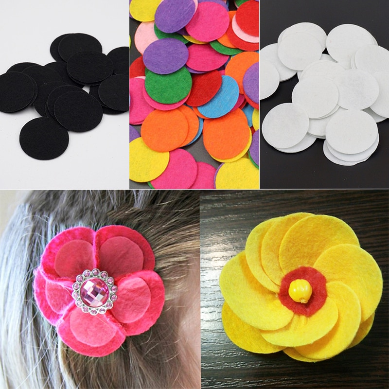 200Pcs/lot Non-Woven Felt Fabric Eco-friendly Round Felt Patch for DIY Handcraft Kids Gift Doll Hair Clip Sewing Fabric Supplies