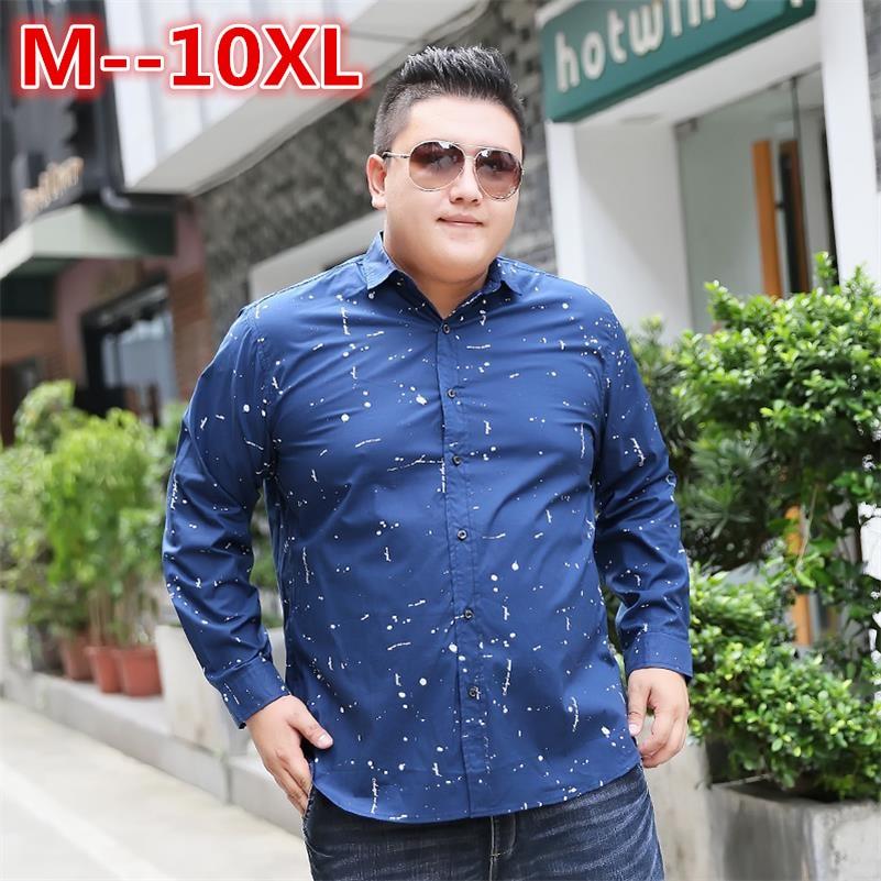 6XL زائد 8XL حجم 10XL الرجال عادية الخريف الاجتماعية طباعة فستان سليم تيشيرت ضيق بأكمام طويلة قميص الذكور ماركة الملابس شيميز أوم
