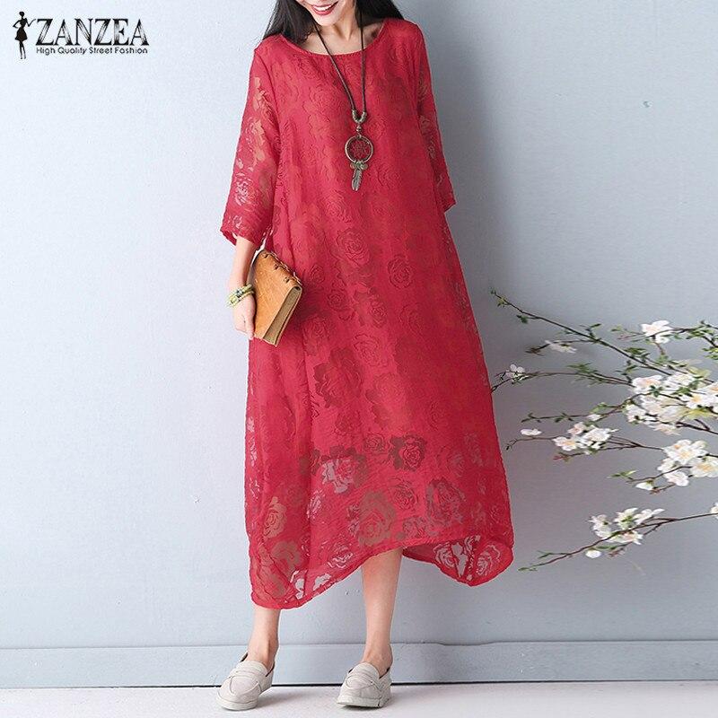 ZANZEA-vestido veraniego elegante para mujer, de encaje bohemio, con manga 2020, Midi, con cuello redondo, Floral, de talla grande hasta 5XL, 3/4