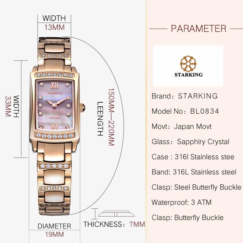 STARKING Female Wristwatch Rectangle Shape Beautiful Womens Watch Elegant Sliver Ladies Watches Bracelet Stainless Steel Band enlarge