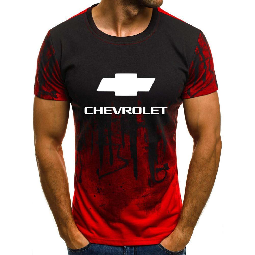 Hombres de manga corta Chevrolet coche Logo hombres camiseta verano casual algodón gradiente camisetas moda Hip Hop Harajuku marca masculina tee