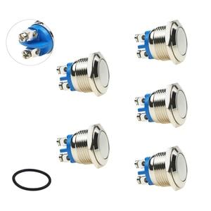 "MONZYDQ 5Pcs 16mm5/8"" Latching Push Button Switch,Waterproof Metal Pushbutton 220V AC 2A Self-Locking for Car Modificine."