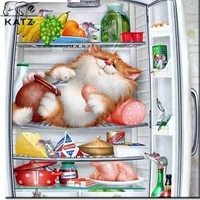 diy anime diamond painting picture of a cat sleeping in the refrigerator handmade diy embroidery cross stitch mosaic decoration