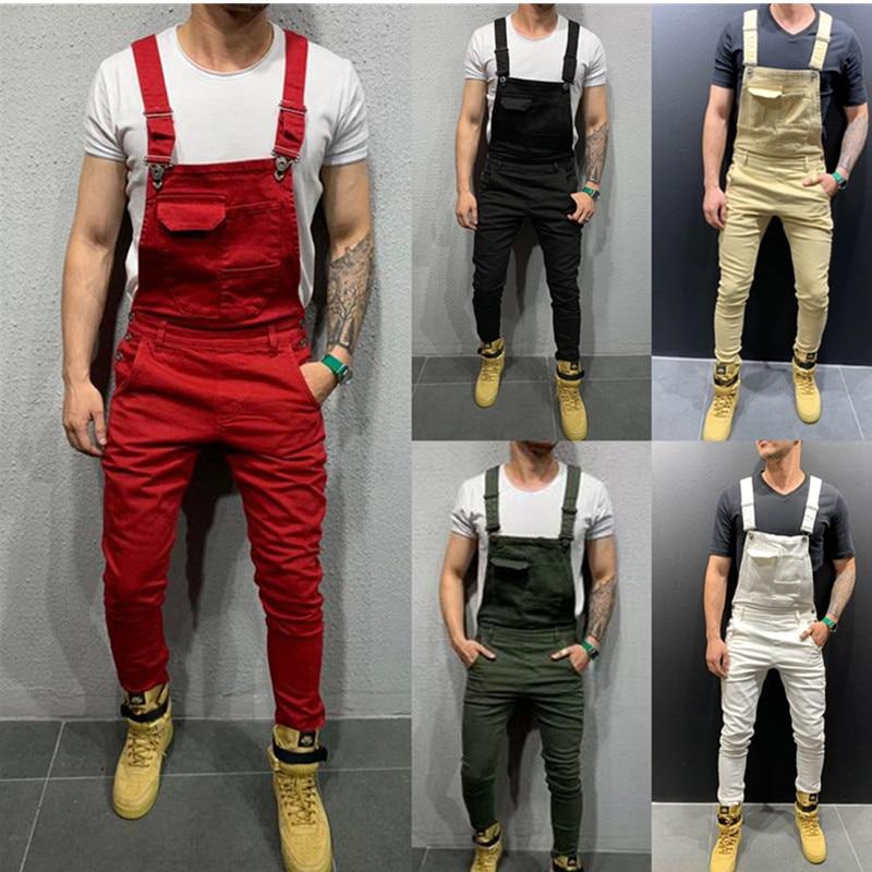 2020 UK Mens Fashion Denim Dungaree Bib Overalls Jumpsuits Moto Biker Jeans Pants Trousers