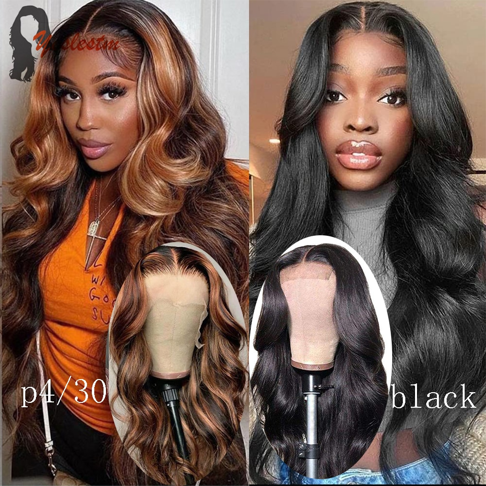Yeslestm Lace Front Wig 13x6x1 Body Wave Brazilian Human Hair Wig Natural And P4/30 Colored T Part W