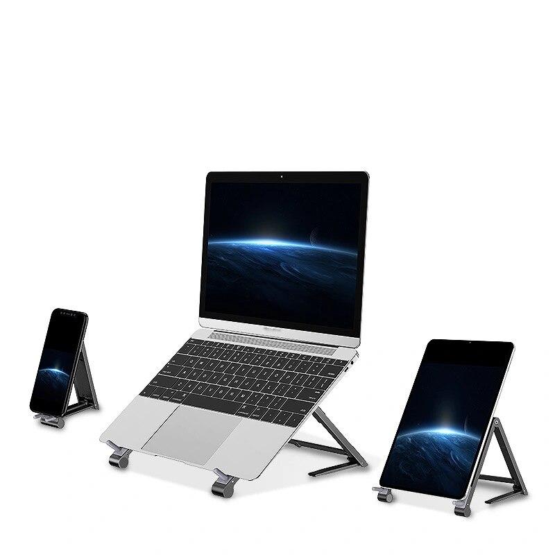 حامل كمبيوتر محمول صغير قابل للتعديل حامل الهاتف المحمول دعم 3in1 دفتر حامل حامل لماك بوك آيفون