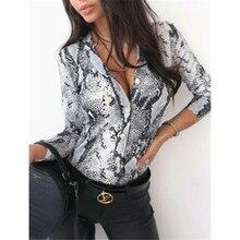 Женская блуза с длинным рукавом и леопардовым принтом, сексуальная Осенняя Повседневная блуза с v-образным вырезом, рубашка, тонкий v-образн...