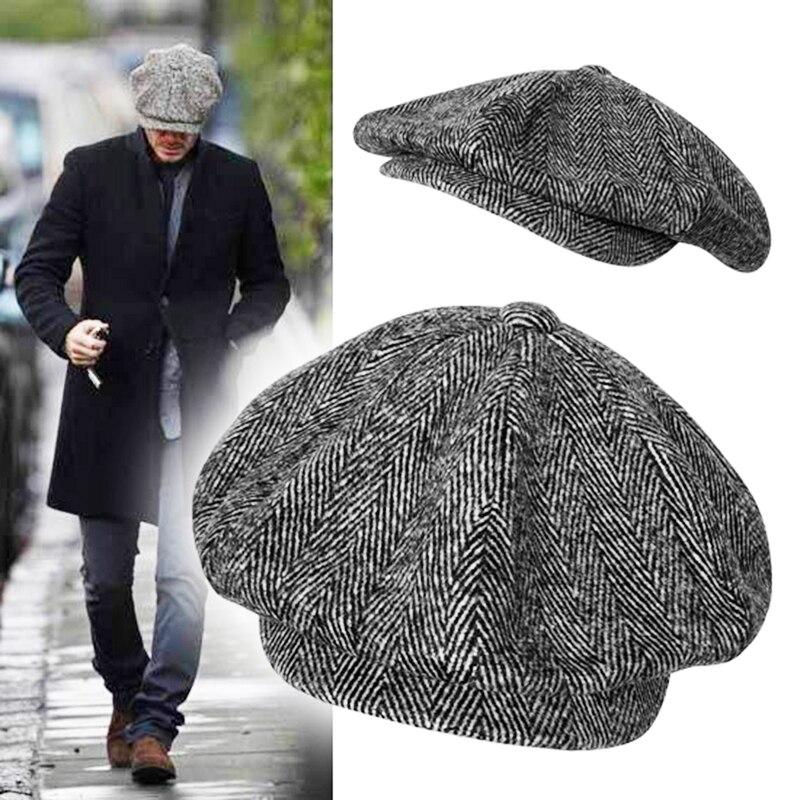casquette Wool Newsboy Caps Men Grey Herringbone Flat Caps Women Coffee British Painters Hat Autumn Winter Caps And Hats BLM09