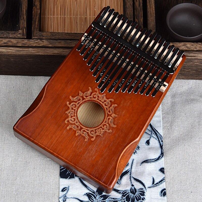 17 teclas negro elegante piano de pulgar Kalimba cuerpo de caoba instrumento Musical