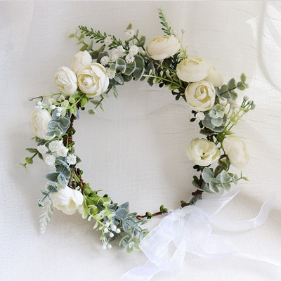 كاميليا زهرة إكليل تاج مهرجان عقال النساء إكسسوارات الشعر غطاء الرأس فتاة الزهور إكليل الزفاف الزهور أغطية الرأس