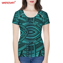 Whisart polynésien traditionnel Style Tribal T-shirt femmes impressions aztèques T-shirt Femme Harajuku vêtements Femme T-shirt hauts