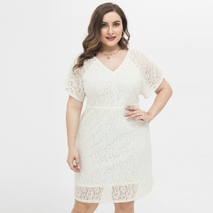 Plus Size Lace Dress With V Neck Back Design White Big Size Office Dresses Short Sleeve Loose Midi Dress Work Casual Wear