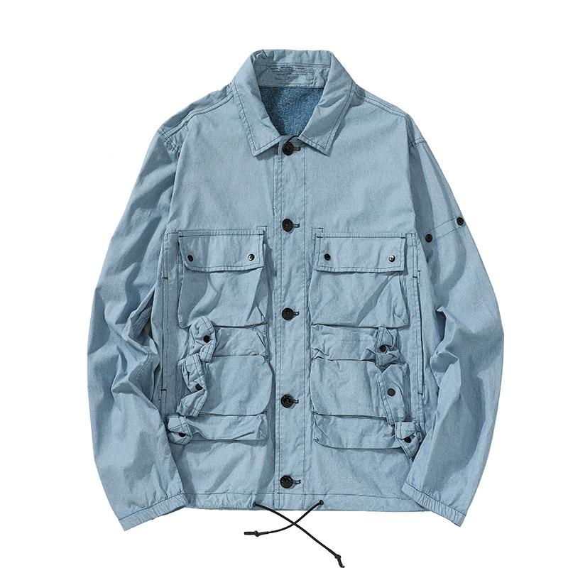 2021 new fashion blue dye craft coat fabric sewing piano pocket casual men's jacket