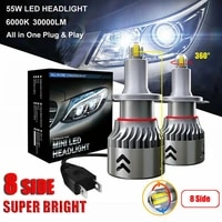 h7h8h9h11 9006hb4 xenon hid kit 8 sides 2pcs 55w 30000lm led h7 car canbus led headlights lamps kit bright