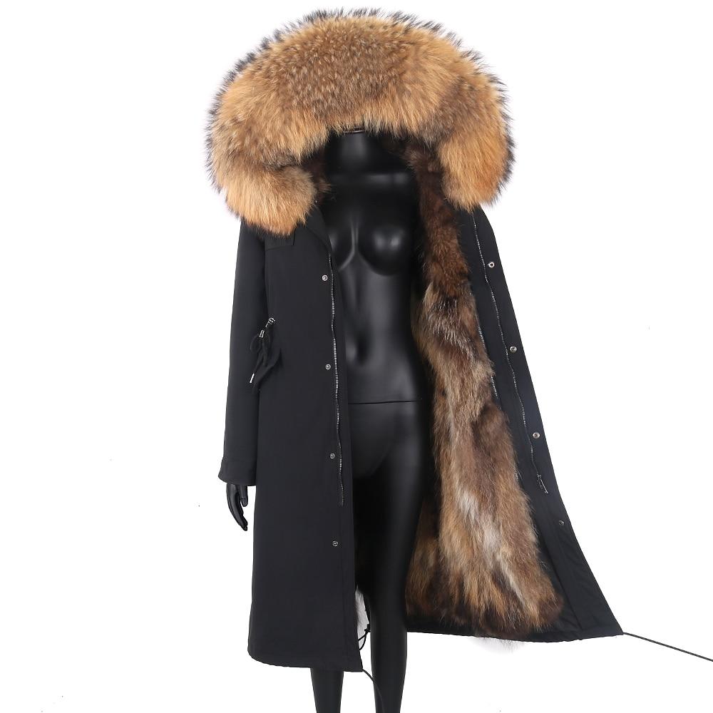 2021 New Winter Jacket Women X-Long Parka Waterproof Big Natural Raccoon Fur Collar Hood Real Fur Coat Thick Warm Real Fox Fur