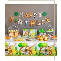 woodland animals disposable tableware monkey plates lion cups jungle safari theme parti happy birthday party decor kids boy 1st