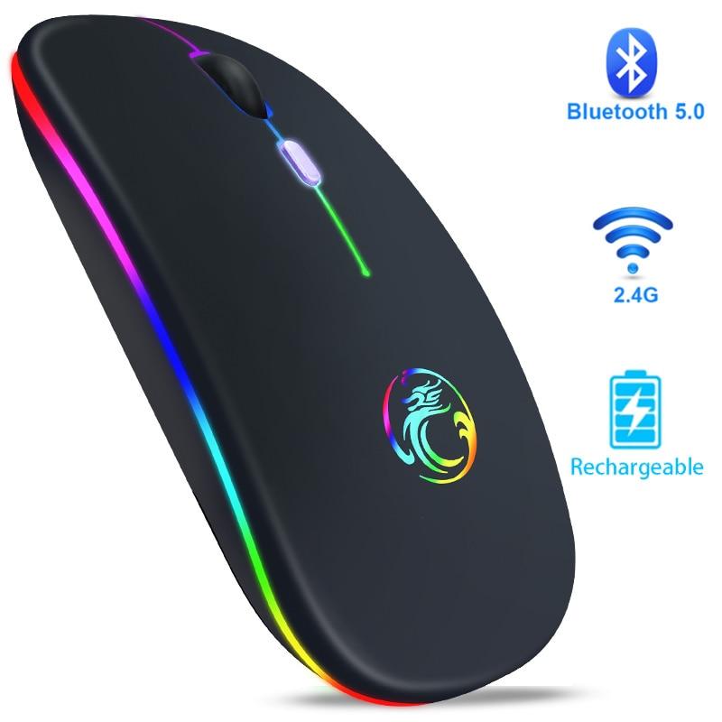 ماوس لاسلكي بلوتوث RGB ماوس قابلة للشحن الكمبيوتر Mause صامت مريح LED الفئران USB البصرية الخلفية فأرة للحاسوب النقال الكمبيوتر