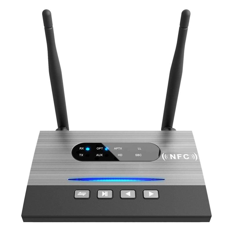 Transmisor receptor Bluetooth 5,0 de Largo alcance inalámbrico o adaptador de baja latencia AptX óptico NFC RCA AUX 3,5mm