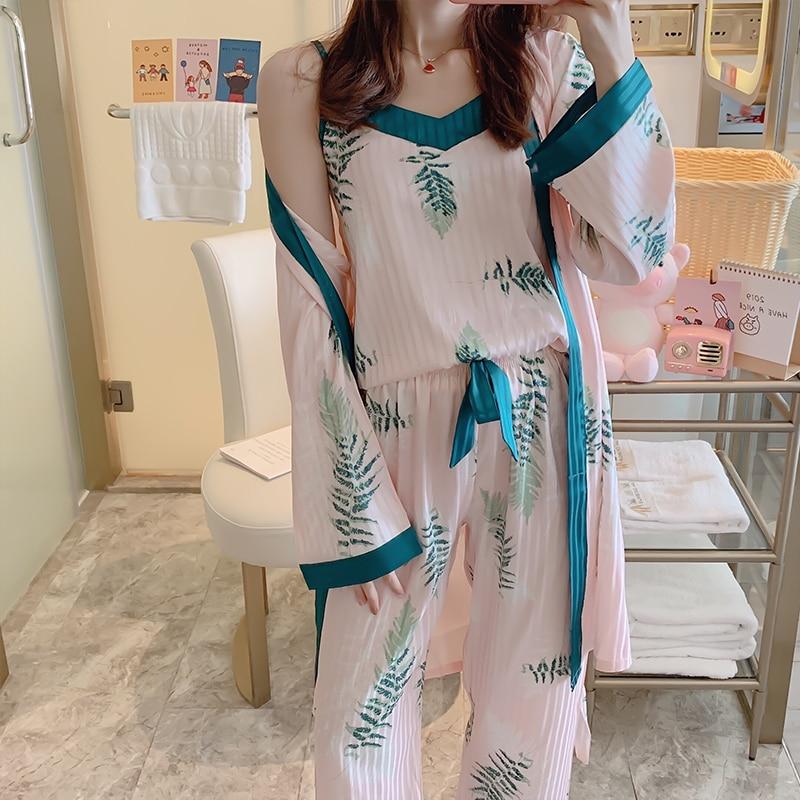 Women Pajamas Set Sling silk Pajamas 3 Peices Sleepwear for Women Long Sleeves Breathable Sexy Robe Homewear SexyTop+ Pant