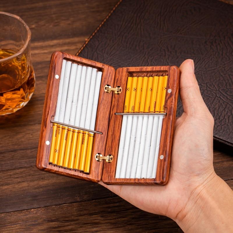 Fine Rosewood Purple Sandalwood Cigarette Case 10/16 Sticks Handmade Solid Wood Portable Cigarettes Box Creative Redwood Gifts