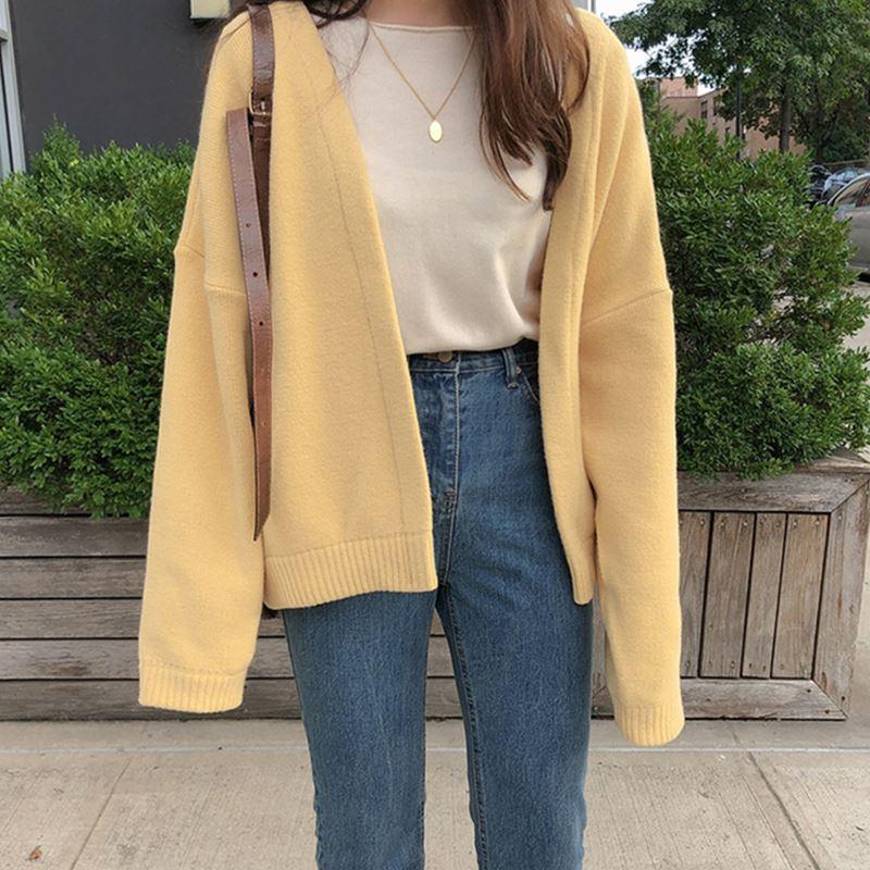 Cárdigan suéter de mujer otoño 2020 nuevo estilo suelto-Fit estilo Laziness amarillo claro corto estilo universitario abrigo Tops
